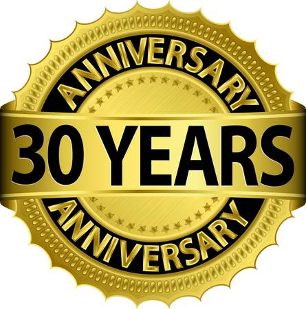 30: 30 years anniversary golden label with ribbon, vector illustration