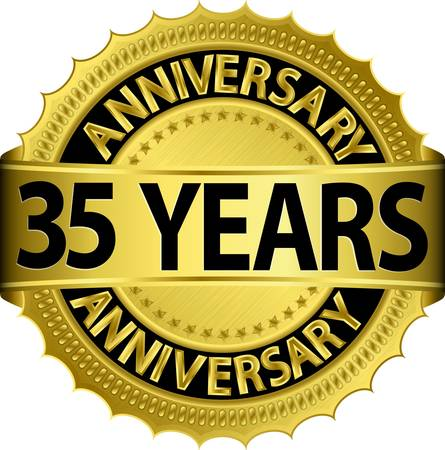 anniversary celebration: 30 years anniversary golden label with ribbon, vector illustration