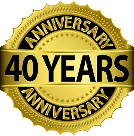 40 years anniversary golden label with ribbon, vector illustration  向量圖像
