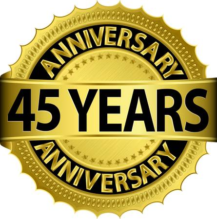 45: 45 years anniversary golden label with ribbon, vector illustration  Illustration