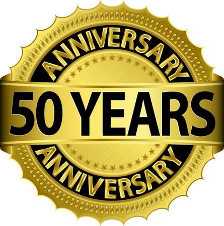 celebrating: 50 years anniversary golden label with ribbon, vector illustration  Illustration