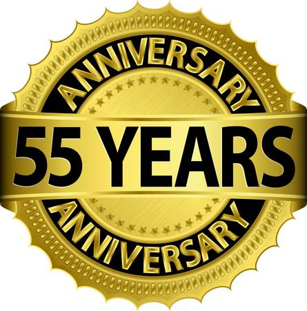 badge with ribbon: 55 years anniversary golden label with ribbon, vector illustration  Illustration