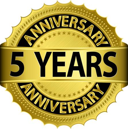 five year: 5 years anniversary golden label with ribbon, vector illustration