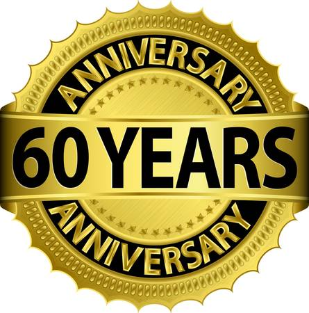 60 years anniversary golden label with ribbon, vector illustration  Illusztráció