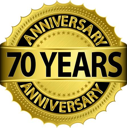 70: 70 years anniversary golden label with ribbon, vector illustration