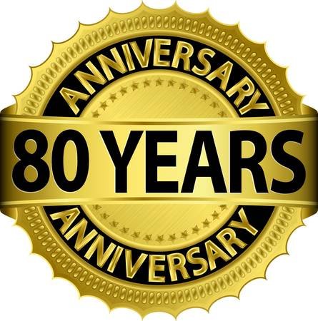 80 years: 80 years anniversary golden label with ribbon, vector illustration