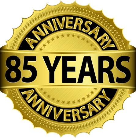 85 years anniversary golden label with ribbon, vector illustration  Vector