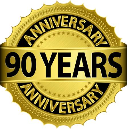 90: 90 years anniversary golden label with ribbon, vector illustration  Illustration
