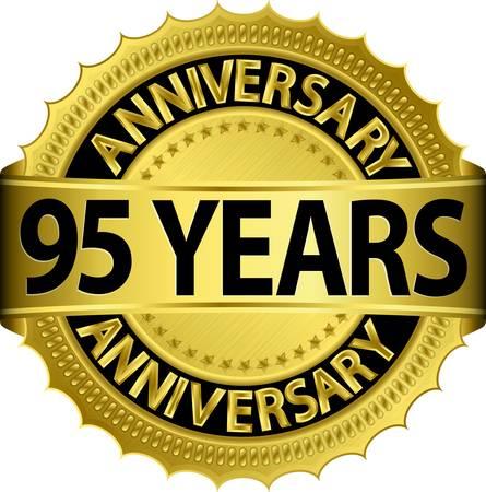 95: 95 anni etichetta nozze d'oro con il nastro, illustrazione vettoriale