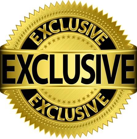 Golden exclusieve label, vector illustration
