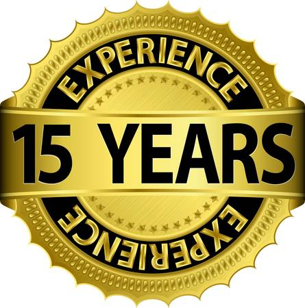 15 years experience golden label with ribbon, vector illustration  Vector
