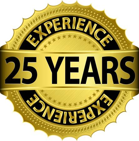 25 years experience golden label with ribbon, vector illustration  向量圖像