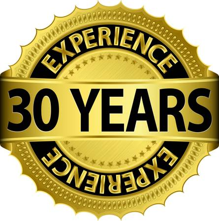 30 years: 30 years experience golden label with ribbon, vector illustration