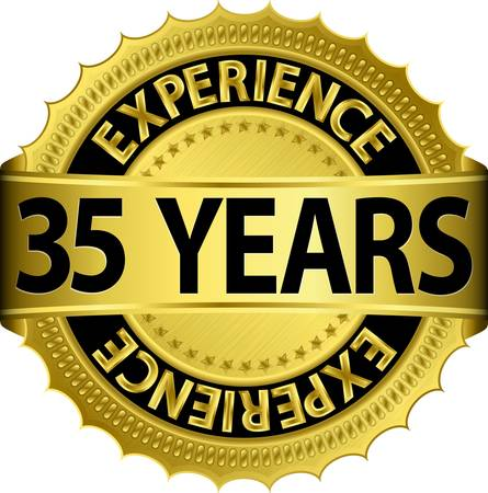 35 years experience golden label with ribbon, vector illustration