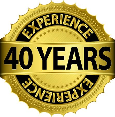 40 years experience golden label with ribbon, vector illustration