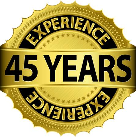 45 years experience golden label with ribbon, vector illustration