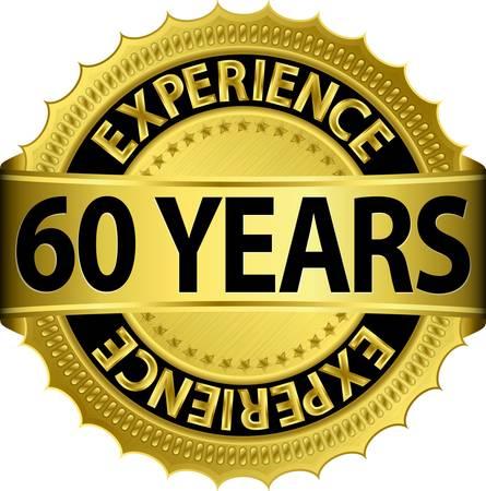 60 years experience golden label with ribbon, vector illustration