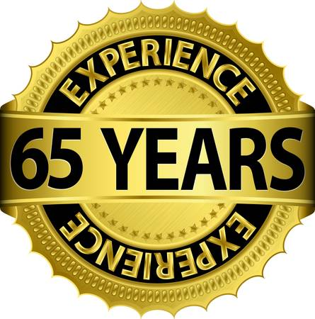 65 years experience golden label with ribbon, vector illustration  Vector