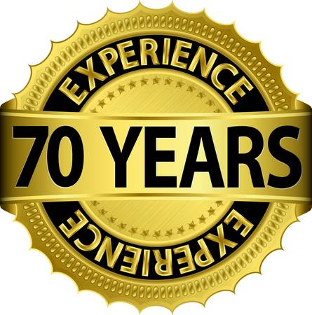 70 years experience golden label with ribbon, vector illustration  Vector