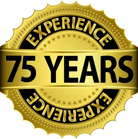 75 years experience golden label with ribbon, vector illustration  Vector