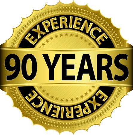 90 years: 90 anni di esperienza etichetta dorata con nastro, illustrazione vettoriale Vettoriali