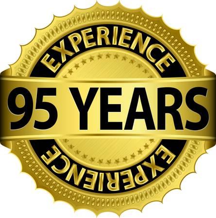 95: 95 anni esperienza etichetta dorata con nastro, illustrazione vettoriale