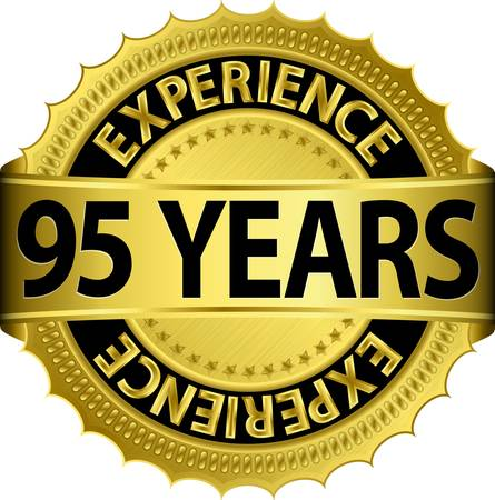 95 years experience golden label with ribbon, vector illustration  Vector