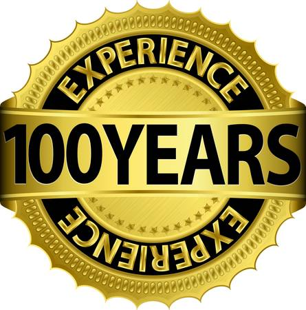 100 years experience golden label with ribbon, vector illustration  向量圖像