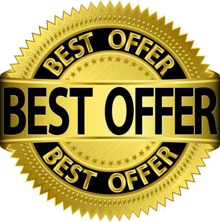 Best offer golden label, illustration Stock Vector - 15922819