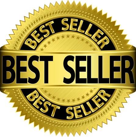 best seller: Bestseller goldenen Etikett, illustration