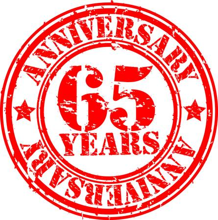 65th: Grunge 65 years happy birthday rubber stamp, illustration  Illustration