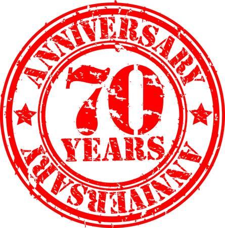 Grunge 70 years happy birthday rubber stamp, illustration  Vector