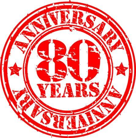 80 years: Grunge 80 years happy birthday rubber stamp, illustration