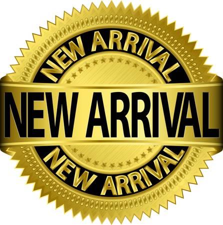 Nieuwe nieuwe aankomst gouden etiket, illustratie
