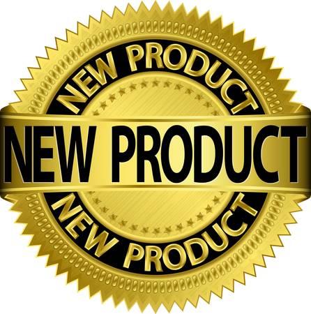 Nieuw nieuw product gouden etiket, illustratie