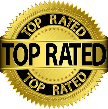 rosette: New top rated golden label, illustration