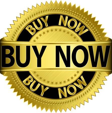 buy now: Buy now golden label, vector illustration