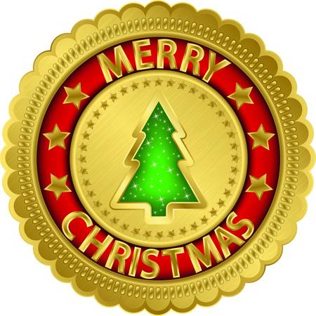 Merry christmas golden label Stock Vector - 16573914