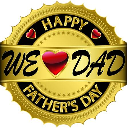 fathers day: Happy father s day golden label Illustration