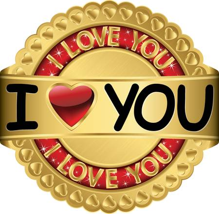 I love you forever golden label Stock Vector - 16710914