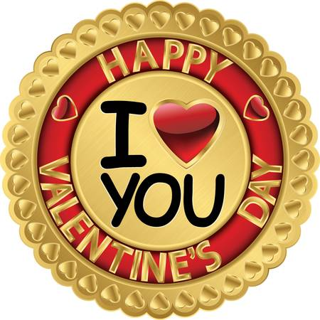 Happy Valentine day golden label Stock Vector - 16710913