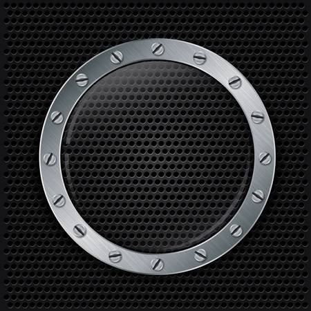 Glass in metallic frame on abstract metal speaker grill background,  illustration Vector