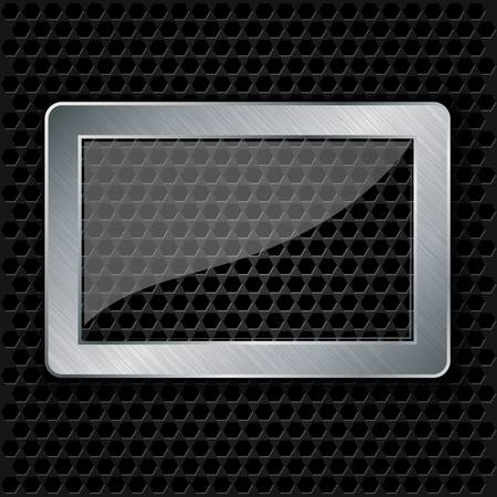 speaker grill: Glass in metallic frame on abstract metal speaker grill background,  illustration