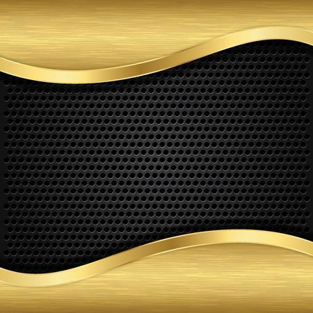 speaker grill: Abstract golden background with metallic speaker grill, vector illustration