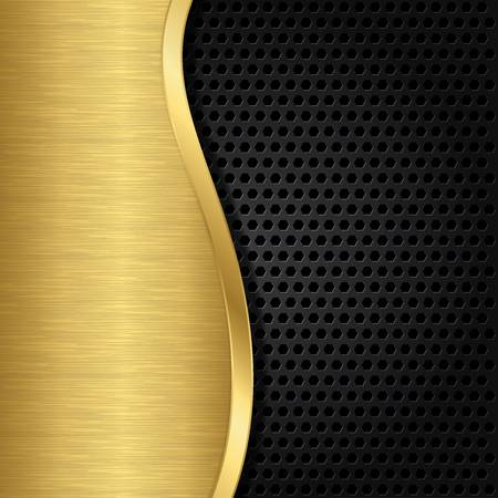 grid black background: Abstract golden background with metallic speaker grill, illustration