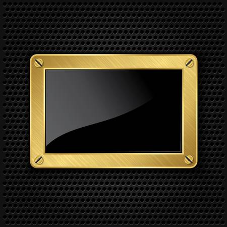 Golden frame with screws on abstract metallic background Vector