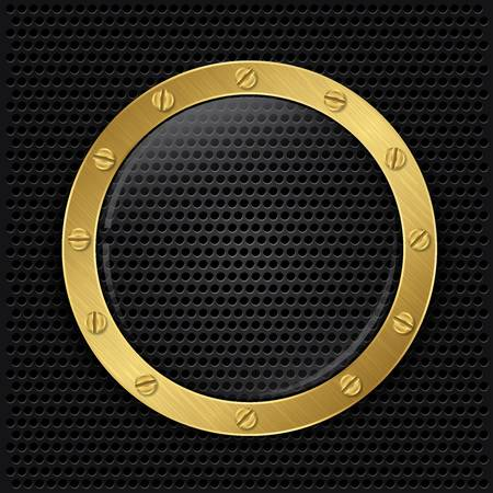 metal grid: Glass in golden frame on abstract metal speaker grill background, vector illustration  Illustration