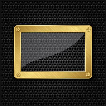 grille: Glass in golden frame on abstract metal speaker grill background, vector illustration  Illustration