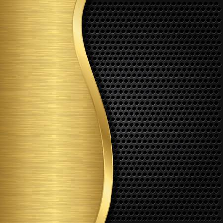 Abstract golden background with metallic speaker grill, illustration Stock Vector - 17323703