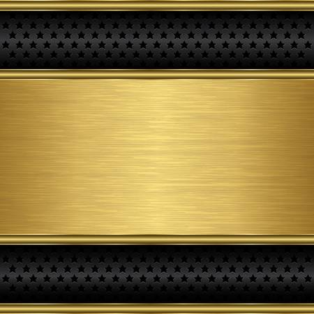 Abstract golden background with metallic speaker grill, illustration  Vector